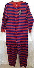 Nick & Nora One Piece Sleep Pajamas Sock Monkey Striped Red Blue Sz M FLAW