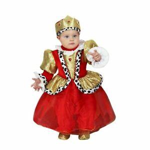 Costume di Carnevale Neonata Piccola Regina Colore Rosso/Oro Made in Italy