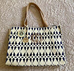 Spartina 449 Market Tote  Canvas Bag Charm NWT Monogrammed