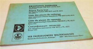 IFA HW60.11 und HL60.11 Anhänger Ersatzteilkatalog Ersatzteilliste 1972