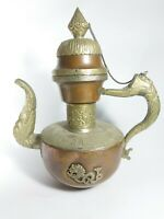 Vintage Persian Dallah Old antique Coffee Pot Engraved very rare Beautiful Brass