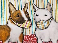 Aceo Miniature Bull Terrier in Quarantine Art Print 2.5 x 3.5 Steampunk Dogs