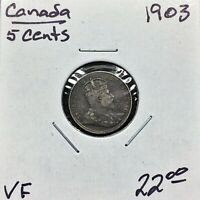 1903 Canada 5 Cents Silver Coin, King Edward VII, VF