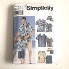 Vtg Simplicity Sewing Pattern Mens Button Down Shirt Boys Cargo Pants Bucket Hat