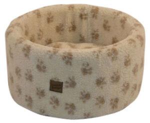 Paw Print Cream Cat Cosy Bed Small 42cm