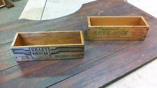 Pair Vintage wood Kraft / Dairyland CHEESE CRATE WOODEN BOXES NICE!