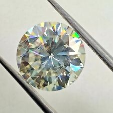 1.34 Ct 7.01 Mm Si1 For Ring Light Yellow Loose Moissanite Round Brilliant Cut