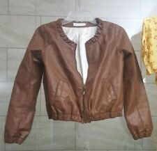 crop vegan leather jacket warm winter satin lining dolls kill mocha brown