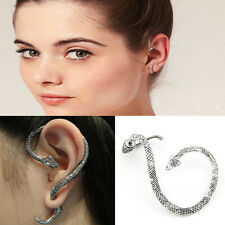 Retro Gothic Punk Snake Wind Temptation Silver Ear Stud Cuff Wrap Earrings JP