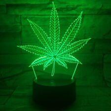 Marijuana Leaf 3D LED Table Lamp Cannabis Weed Night Light Optical Visual Illusi