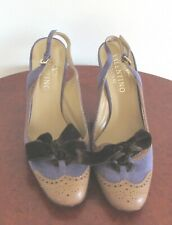 Vintage Valentino Caravani Brown Leather Purple Suede Shoes Size 38 1/2