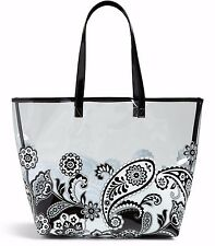VERA BRADLEY Clearly Colorful Tote Bag MIDNIGHT PAISLEY Pool Beach XLarge $48
