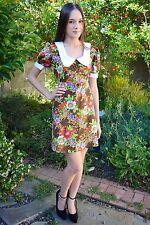Vintage 1960s Rainbow Floral Mod Peter Pan Collar Retro Babydoll Mini Dress S-M