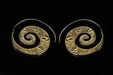Gold Earrings Pair Brass Jewelry Antique handmade dangle Tribal Gypsy Victorian