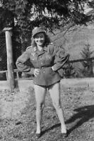 War Photo beautiful girl in German military uniform WW2 4x6 inch F