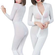 Women's Lingerie See Through Bodysuit Jumpsuit Leotard Long Zip Catsuit Clubwear