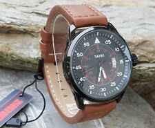 SKMEI Mens RAF Pilot Black Military Style Watch Brown Leather Strap
