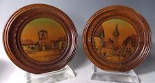 """Pair French Pyro Art """"Cernay"""" Wood Tray Frame by Jean Claude Boli 1900-1949"""