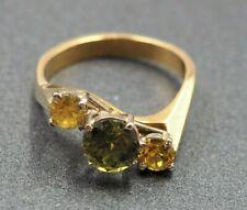 Womens Ring 18ct Yellow & White Gold Sapphire Fine Handmade Jewellery Vintage