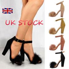 UK Women Ankle Straps Ladies Fur Strappy Block High Heels Peep Toe Sandals Shoes