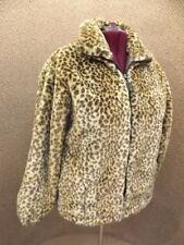 Beautiful Ameri Mode NEW Plush Leopard Cat Faux Fur Bomber Jacket Coat Womens L