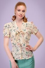 Collectif Vintage 40s Style Tura Cream Swallow Crepe Blouse Size 18