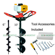 "52cc Power Engine 2.2Hp 1.8Kw Gas Powered Post Hole Digger W/ 6""+10"" Auger Bits"