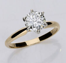 GIA diamond solitaire engagement ring 14K y/gold GVS1 round brilliant 1.18CT NEW