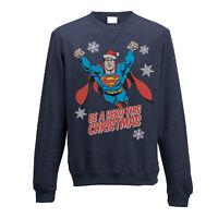 Superman Christmas Hero Sweatshirt Xmas Official Pullover Jumper Small NEW