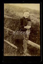 Cabinet Card - nice photo of young girl - sitting on fence-  Victorian/Edwardian