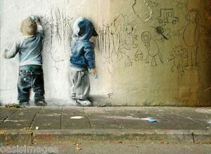 banksy CHILDREN DRAWING ON WALL choose either print, t shirt transfer or sticker