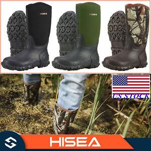 HISEA Men's Boots Mid-Calf Neoprene Rubber Insulated Rain Snow Muck & Mud Boots