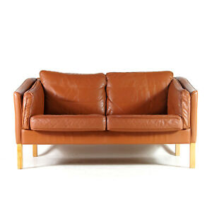 Retro Vintage Danish Stouby Leather 2 Seat Seater Sofa Mogensen 50s 60s 70s Oak