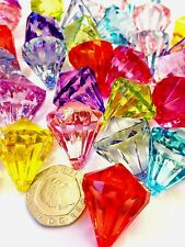 10 Extra Large Faceted Teardrop Acrylic Crystal Pendant Beads 26mm X 21mm Random