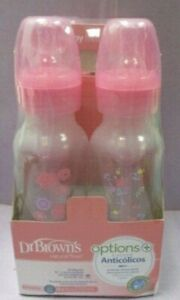 Dr. Brown's Options+ Baby Bottles, 8 oz/250ml, Narrow Bottle, Pink Floral 4 Pack