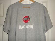 Men's L Tee T-shirt Bacardi Bat Logo Gray & Red Short Sleeve New! Promo