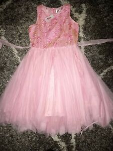 Girls justice sequin tulle dress size 14 new pink