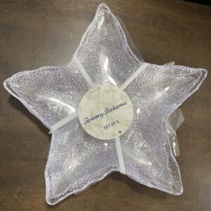 Tommy Bahama Melamine Plates Clear Large Star fish Starfish Set Of 4