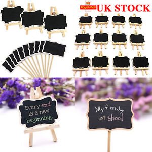 12Pcs Mini Wooden Blackboard Wedding Party Chalkboard Sign Message Table Stand