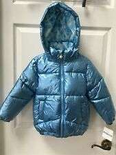 NWT Disney Store FROZEN II Elsa Metallic Blue Hooded Jacket Youth Girls 4T NEW