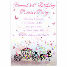 Personalised Birthday Party Invitations, Thank You Card Princess Colour Carriage