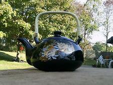 Japanese Style Porcelain Teapot Black with Gold Peacocks - 16 oz
