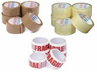 2 High Quality Packing Tapes 1 x BROWN /& 1 FRAGILE Low Noise