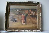 Antique Original Two Child & Dog by the Sea Oil Painting on Canvas Board -Signed