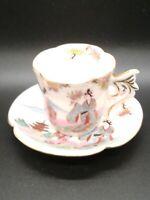 Vintage Kutani China Kosen Demitasse Teacup and Saucer Geisha ~ Rare
