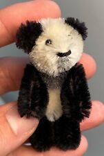 Early Vintage 3� Schuco Mohair Miniature Black and White Jointed Panda Bear Nm+