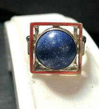 70er Jahre Silberring eckig Sodalith Cabochon rund 835er Silber Ring Gr. 56