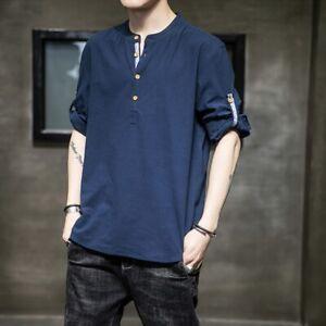 Men Cotton Linen Tops Tee Shirt Roll Up 3/4 Sleeve Button Henley Neck Thin Blue