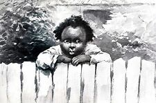 Black Americana LITTLE BOY WAITING FOR DADDY PAPPY 1896 Kemble Matted Art Print