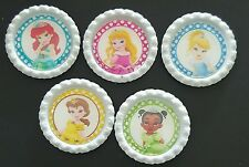 5 x Disney Baby Princesses White Flattened Bottle Caps - Magnets, Hair Bows
